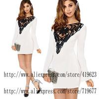 Casual Dress Vestido De Festa plus size 2105 White Embroidery Renda lace long sleeve bodycon dresses robe Vestido De Festa Curto