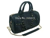 Women Cross Body Shoulder Bag Felt Black Handbag Golden Rivet Detachable Shoulder Strap