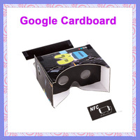 "20pcs New Google Cardboard 3D Glasses With NFC for 4-6"" Smartphone Black Virtual Reality 3D VR Google Glasses"