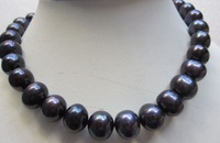 "HOT HUGE AAA 18"" 12-14MM SOUTH SEA BLACK PEARL NECKLACE 14K GOLD CLASP"
