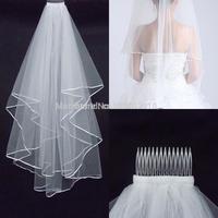 AJ011  2015 Hot Sales White Wedding Veil Satin Edge One Layer Wedding Accessory Bridal Veil For Wedding