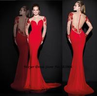 2015 vestido longo Latest Long Red Mermaid Evening Dresses Sexy Lace Beading Long Sleeve Formal Party Dresses Robe de Soiree