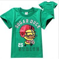2015 New summer Tee T-shirt girls short sleeve cartoon duck shirts baby girl shirt cotton tops kids clothes WD2108