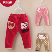 Girls winter thick corduroy pants Baby warm pants trousers Cute cartoon animals pants