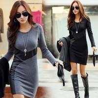 2015 winter new large size women OL temperament Slim stitching Pu Leather dress long sleeve dress bottoming dress casual work