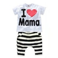 5 SET/LOT 2015 New Summer Baby Girl Clothing Set Children Letter Suit Kids short Sleeve Twinset Top T Shirt +stripe Pants FF598