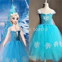 Retail 2014 Summer Frozen Dress, Kids party dress, Animated cartoon dress, baby girls frozen elsa&anna dress 1pc free shipping