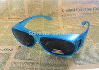 Lot 2Prs New Matte Blue Frame  Polarized Sun Shield Sunglasses  Size Fits Over Prescription Glasses Unisex Over Glasses