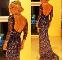 Elegant Long Evening Party Dresses 2015 New Shine Backless Women Casual Dress Noble Women Wedding Dresses Vestidos De Renda Sale