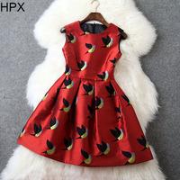 Women Fashion Cotton Green/Red Animal Birds Tight Ball Dress 2014 Autumn Winter New European Style Brand Designer D1328
