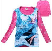 New 2015 frozen spring Tee T-shirt girls long sleeve cartoon shirts baby Elsa & Anna girl shirt cotton tops kids clothes WD2105
