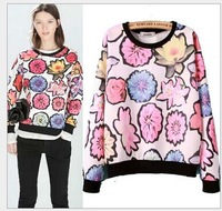 2015 Spring Autumn New Womens Elegant Multicolor Floral Flower Print Hoodie Sweatshirt Hoodies Ladies Casual Jumper sudadera