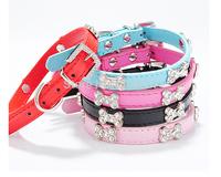 Pet collar 12pc Adjustable Pet Dog Cat collar Pet Products new style punk PU leather rhinestones collar C376-380