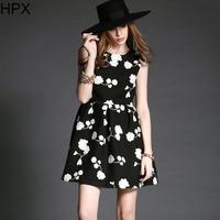 Women Fashion Black/Grey Woolen Flower Tight Ball Dress 2014 Autumn Winter New European American Style Brand Designer D1333