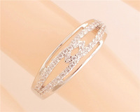 Free Shipping Promotion 1pc Sterling Silver Pure Cubic Zirconia Glitter charming Women's Party Finger Ring Size9-10 TG430-TG431