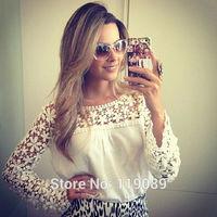 Fashion 2014 Blusinhas Femininas Womens Camisa Lace Crochet Chiffon Blouses De Blusas Renda Tops Shirts Com Renda  Floral HTNCS6