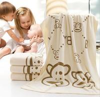 All season new cute cartoon monkey print baby's high quality microfiber cotton 70*140cm comfortable red blue beige bath towel