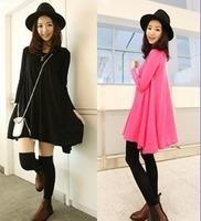 Free shipping 2015 new  High-end fashion temperament autumn knit long-sleeved dress big swing  QZ1232