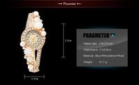 New Fashion White Pearl Flower Rhinestone Analog Quartz Watch Women,Free shipping