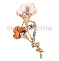 Free Shipping!2015 New 3pcs/lot Fashion Elegant trumpet flower Rhinestone Brooches Women Crystal Brooches Pins