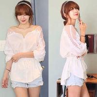 New Ladies Women Lace Chiffon Loose Blouse Half Sleeve T Shirt Doll Chiffon Tops