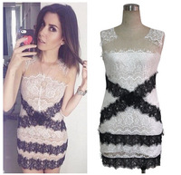 2015 explosion models in Europe and America in black and white Lei mesh yarn stitching dresses sleeveless mini skirts