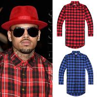Hip hop style mens red Tartan plaid shirts Long sleeve side gold zipper man extended casual bule Lattice skateboard shirt  XXL