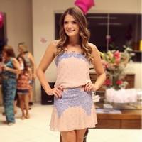 Vestidos Femininos 2015 Casual Dress Women Sexy Crochet Stitching Lace Dress Sleeveless Halter Evening Dress Vestido De Festa