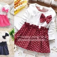 Hot Sale Newborn Baby Girl Winter Party Dress Fashion Star Long Sleeve Dresses For Baby Girls Bowknot Princess Dress