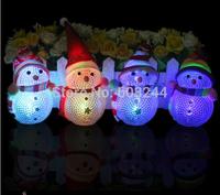 Free EMS 50pcs Acrylic 8.5*5.5cm Christmas Snowman LED 7-color Changing Flash Lamp Night Light Candle Christmas Gift Retail Box