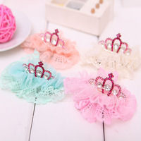 New SWEET Baby Girls Hairclip Lace Flower Crown Hairgrip Rhinestone Hairpin Fashion Infant Hair Accessory Christmas Gift