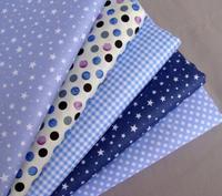 40cm*50cm 5pcs Star Print Dot Blue Cotton Fabric Fat Quarter Quilting Patchwork Tilda Doll Cloth Baby BeddingTextile For Sewing
