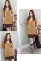 Free shipping 2015 new  Korean fashion high temperament slant pocket hit color spell color long-sleeved dress  QZ1236