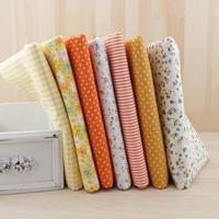7pcs Yellow fat quarter bundle 100% Cotton  Fabric for DIY Sewing Patchwork quilting Tilda Doll Cloth Textiles Fabric 50*50cm