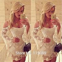 2015 Linen Off Shoulder Women Lace Crochet Mini Dresses Sexy Strap Club Party Vestido Plus Size Floral Robe Beach FemininoHBQ39