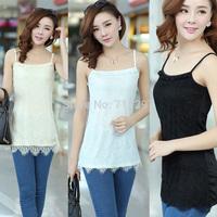 2015 new design plus size lace crochet halter top camis casual tops halter top of summer 2014 XXXL elastic black white L35004
