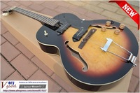New! ES-125 jazz Guitar, Sunset color maple topping Electric Guitar Free shipping