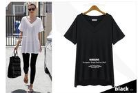 Free shipping 2014 summer new women's European leg of female models V-neck short-sleeved solid color T shirt