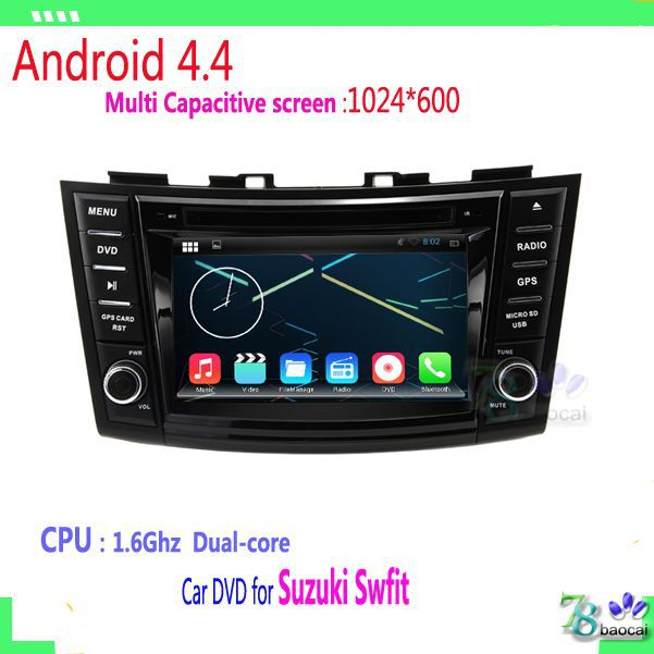 For Suzuki Swfit Car Capacitive screen 1024*600 Pure Android 4.4 2 din Car DVD GPS with WIFI 3G GPS USB Car radio car stereo(China (Mainland))