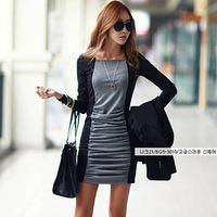 Free shipping 2015 new  Korean fashion style round neck long-sleeved dress stitching bottoming  QZ1246
