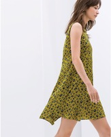 Free shipping 2014 summer fashion loose back print dress decorated with buttons
