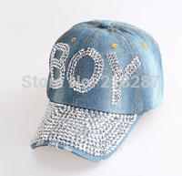 2015 Hot sale!MOQ=1PCS New Denim With Rhinestone Baseball Cap Fashion Women peaked Caps BOY Letters Sun Hats