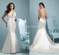 Sleeveless Back Open V-neck Spaghetti Strap Shinning Crystals Beaded Court Train 2015 New Long Mermaid Bridal Wedding Dresses