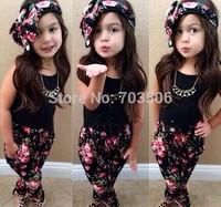 2014 New arrive!Children's summer clothes for girls floral suit (headband + vest + pants) 3pcs / set,2-8Y