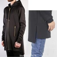 cool NEO extended long hoodie hip hop men Hooded Jacket side slit fake deisgner clothes brand UK slim fit kanye west pyrex hba