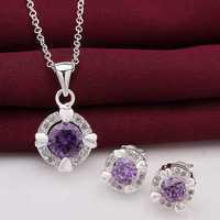 New Design!Wholesale 925 silver Jewelry Set,silver Bridal Party Sets aim purple stone N+E SMTS713