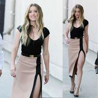 2015 Hot Sexy Slim patchwork Women Dress Short Sleeve Bodycon package hip dress Barelegged Evening Party Club Dress Tonsee