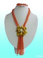 FXFT64  Rose the latest design semi-precious stone necklace  bracelet set
