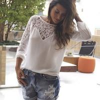 2015 Summer Plus Size Tropical blusa feminina renda Long Sleeve Hollow Out Lace Chiffon Shirt Women Tops White Blouse C681