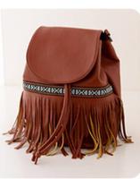 2014 new Famous Brand Desigual Women Leather Backpack Women travel bags vintage Shoulder Bag Motorcycle Bag tassel bag D282